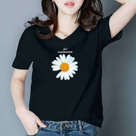 精品彩色棉T恤女宽松V领鸡心领短袖半袖简约休闲印花
