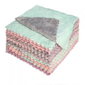珊瑚绒洗碗巾厨房毛巾抹布不沾油双层印花洗碗布双面吸