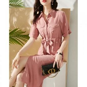 净色铜氨丝纯色气质通勤OL收腰遮肉显瘦衬衫中裙连衣