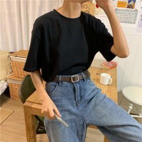 2020夏装新款基础纯色T恤女韩版chic简约宽松