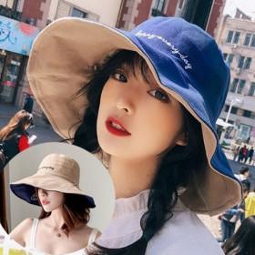 韩版双面小雏菊渔夫帽女夏天日系遮脸潮百搭遮阳帽