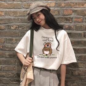 女装 夏季新款圆领短袖t恤女韩版百搭学生休闲印花上