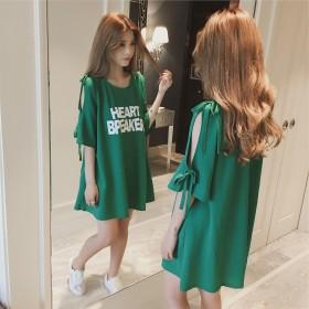 新款时尚简约精致潮流女士优雅中长款T恤上衣