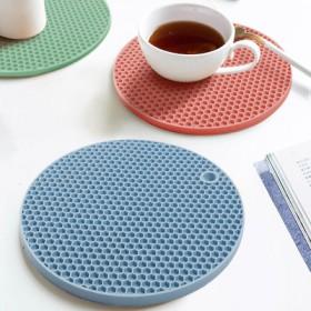 硅胶隔热垫蓝粉2色 餐垫耐高温盘垫碗垫 加厚升级款