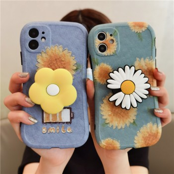 韩国ins风花朵支架苹果11手机壳iphoneXR