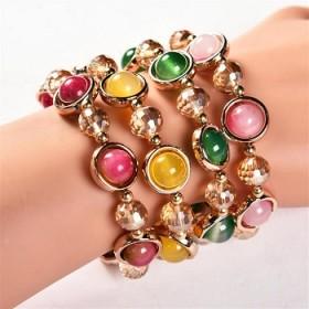 新款韩版龙纹玛瑙石手链女时尚水晶手链镶嵌猫眼石手串
