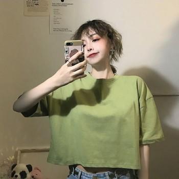 短款t恤女漏肚脐短袖2020夏季新款宽松韩版高腰