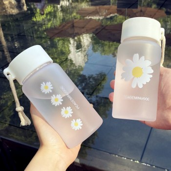 小雏菊塑料水杯女男学生韩版杯子便携ins创意