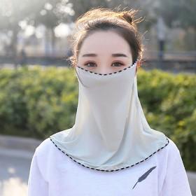 冰丝防晒衣防晒口罩袖套透气遮阳面罩护颈披肩女
