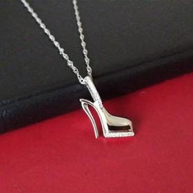s925纯银饰品镶钻高跟鞋项链水波纹延长链有印记