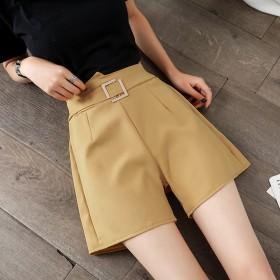 雪纺阔腿短裤女夏季2020新款高腰休闲百搭显直筒西