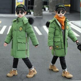 2020男童装棉衣加绒加厚小男孩韩版新款棉服中长款