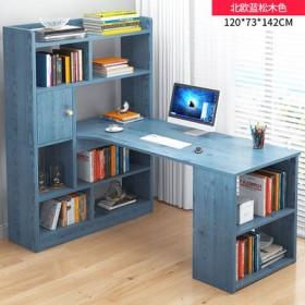 电脑桌台式家用书柜书桌一体书架组合简约卧室学生转角