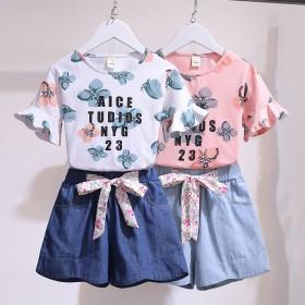 女童网红套装洋气夏装短袖t恤夏季韩版中大童牛仔