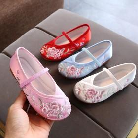 新款老北京布鞋女童绣花鞋宝宝手工古装鞋子汉服布鞋