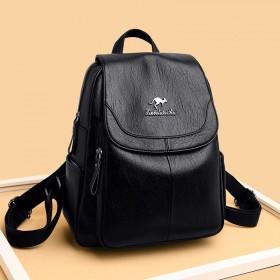 袋鼠真皮质感双肩包女休闲背包韩版软皮大容量旅行包