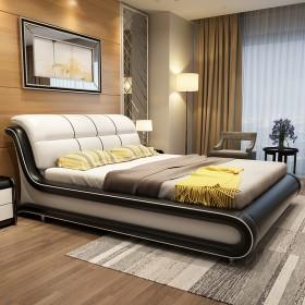 真皮头层牛皮床主卧现代简约双人床1.8米1.5米