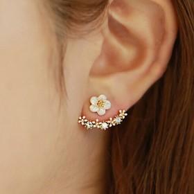 韩国s925银针耳环小雏菊花后挂式耳钉韩版防过敏