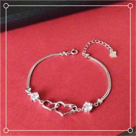 s925纯银双心形锆钻手饰情人节礼物爱心手链有印记