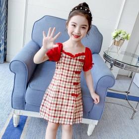 夏季新款女童旗袍连衣裙中国风格子裙