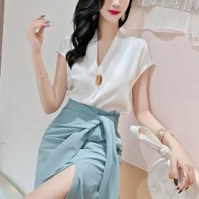 夏新款韩版套装高腰开叉绑带包臀裙半身裙女A字裙