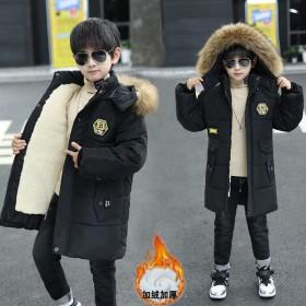 男童冬季棉衣加绒加厚棉袄中长款小男孩棉服儿童大衣