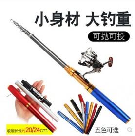 进口碳素迷你钓鱼鱼竿套装组合全套冰钓便携钢笔式带线
