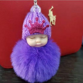 睡萌娃娃钥匙扣7CM仿獭兔毛球挂件女创意皇冠毛绒宝
