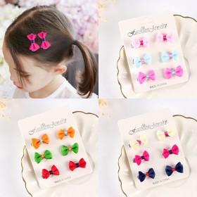 6个装儿童蝴蝶结头饰宝宝发量少安全夹子可爱刘海卡子