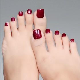 纯手工脚趾甲贴片穿戴式假脚指甲显白穿戴美甲成品女
