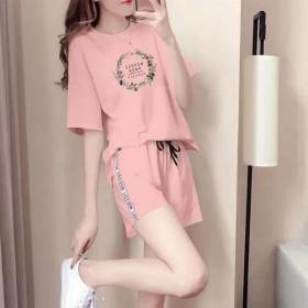 纯棉短袖短裤女新款韩版时尚休闲运动服套装宽松潮