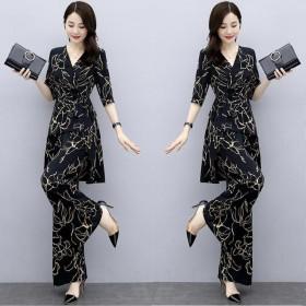 夏新款雪纺高腰垂感阔腿裤女神范时尚洋气套装