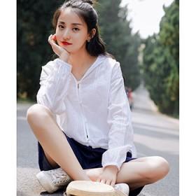 夏季外搭开衫女薄款百搭防晒衫女宽松连帽纯色短外套