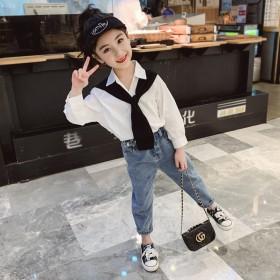 女童秋季套装2020新款中大童披肩衬衣宽松牛仔裤韩