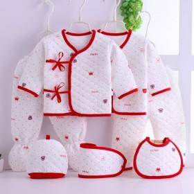 0-3个月宝宝春秋冬三层夹棉七件套袋装满月礼物