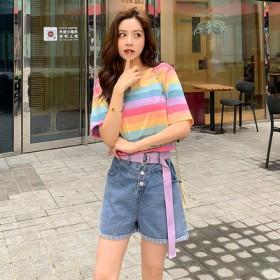2020夏季新款彩虹条纹上衣牛仔短裤宽松休闲套装