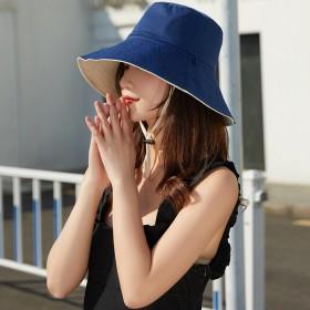 韩版网红渔夫帽女夏休闲百搭双面纯色出游大檐帽防晒帽