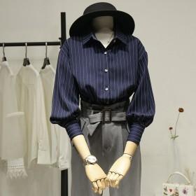 条纹衬衫女设计感小众季垮肩七分袖早春女上衣气质复古