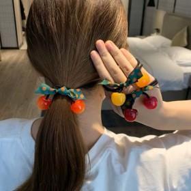 3条装可爱樱桃橡皮筋女扎头网红蝴蝶结发绳头绳发圈