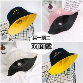 帽子女士帽双面帽刺绣百搭盆帽渔夫帽男女可爱学生韩版