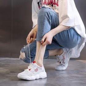 夏季薄款真皮老爹鞋增高轻便百搭透气厚底韩版网红女鞋