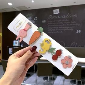 韩版可爱卡通太阳花bb夹儿童绒布水果恐龙鸭嘴夹少女