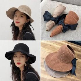 帽子女空顶帽卷遮阳晒大沿凉帽百搭波浪边可折叠太阳帽