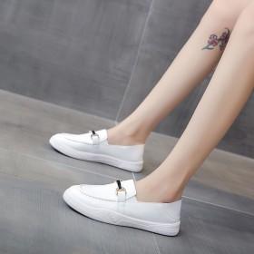 夏季新款单鞋平底板鞋一脚蹬休闲皮鞋女