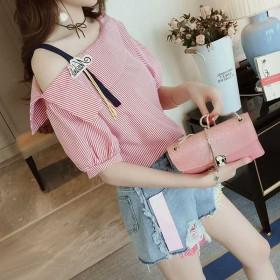 夏季新款一字肩条纹女T恤 2020韩版露肩宽松短袖