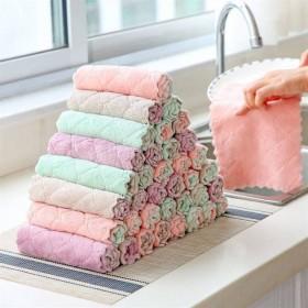 3条装双面双色洗碗巾不沾油抹布清洁厨房家用珊瑚绒懒