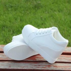 新款百搭透气小白鞋内增高女鞋休闲鞋松糕鞋春夏单鞋