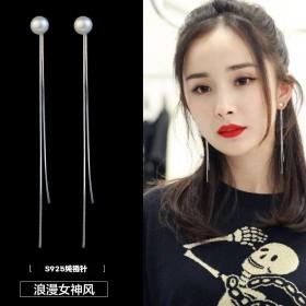 耳环女长款气质韩国珍珠流苏耳坠适合圆脸的显瘦耳饰网
