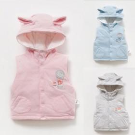 婴儿连帽马甲秋装加厚背心男女宝宝马夹纯棉薄棉动物保