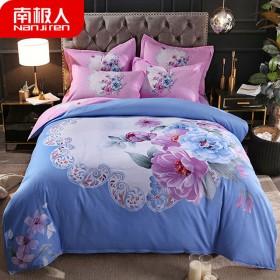 南极人网红斜纹加厚四件套大版花床单被套床上用品